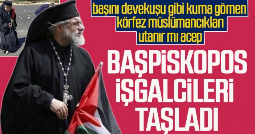 Katolik Başpiskopos Filistinlilerle birlikte siyonist işgalcileri taşladı